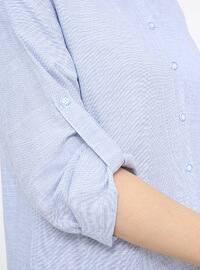 Blue - Checkered - Cotton - Plus Size Tunic