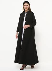Black - Unlined - Button Collar - Cotton - Topcoat