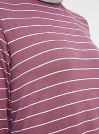 Purple - Stripe - Crew neck - Viscose - Tunic