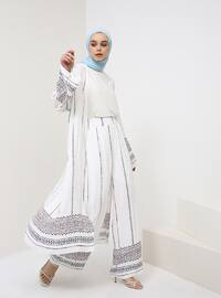 White - Ethnic - Viscose - Pants