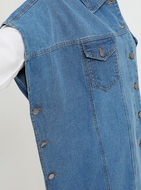 Blue - Unlined - Point Collar - Cotton - Denim - Vest