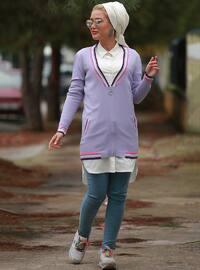 Lilac - Stripe - Point Collar - Cardigan