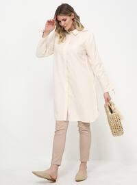 White - Point Collar - Plus Size Tunic