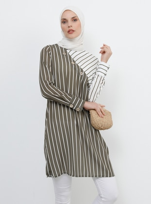 Khaki - Cream - Stripe - Crew neck - Tunic