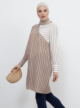 Brown - Cream - Stripe - Crew neck - Tunic