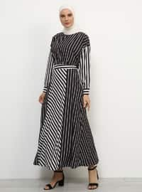 Black - White - Stripe - Fully Lined - Skirt