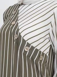 Khaki - Cream - Stripe - Crew neck - Tunic
