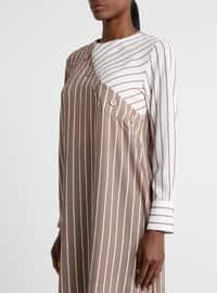 Brown - Cream - Stripe - Crew neck - Tunic