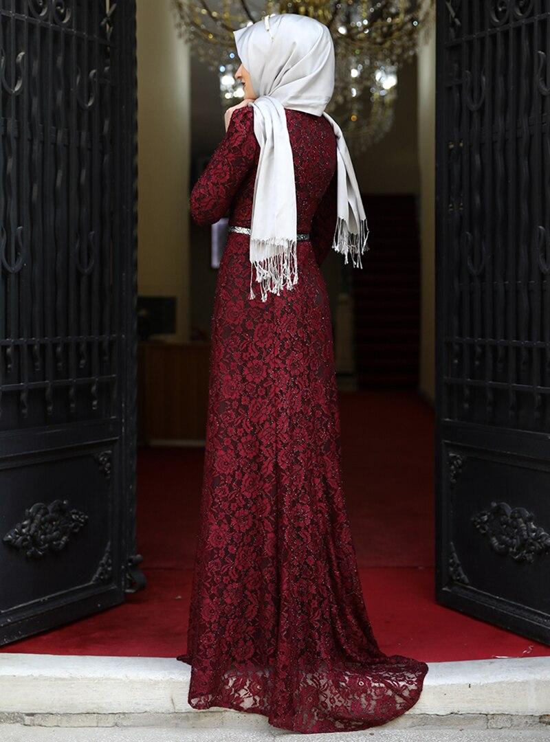 Amine Hüma Bordo Hayal Abiye Elbise