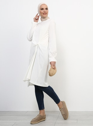White - Ecru - Crew neck - Cotton - Tunic