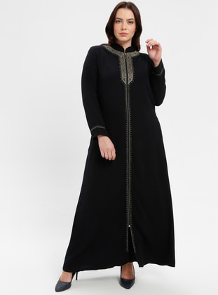 Navy Blue - Crew neck - Crew neck - Unlined - Plus Size Abaya