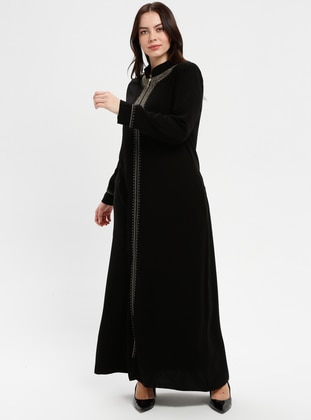 Black - Crew neck - Crew neck - Unlined - Plus Size Abaya - ECESUN