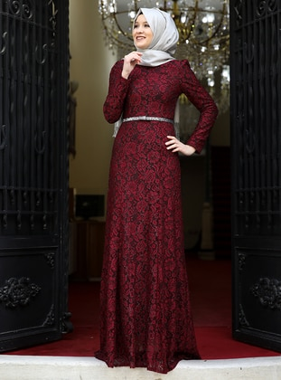 Maroon - Fully Lined - Crew neck - Muslim Evening Dress - Amine Hüma