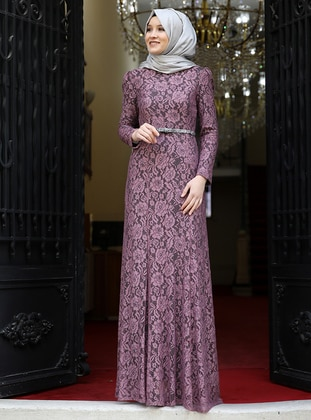 ac02399a73f Dusty Rose - Fully Lined - Crew neck - Muslim Evening Dress