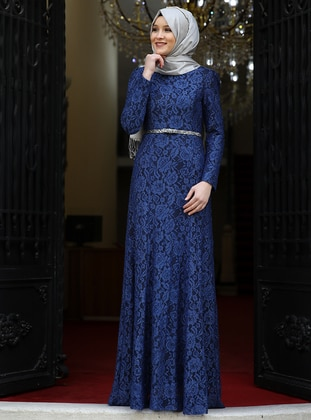 Indigo - Fully Lined - Crew neck - Muslim Evening Dress - Amine Hüma
