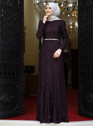 Purple - Fully Lined - Crew neck - Muslim Evening Dress - Amine Hüma