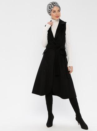 Black - Unlined - Shawl Collar - Vest - BÜRÜN
