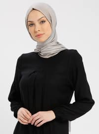 Black - Crew neck - Unlined -Viscose- Dresses