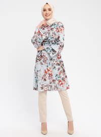 Blue - Floral - Round Collar - Tunic