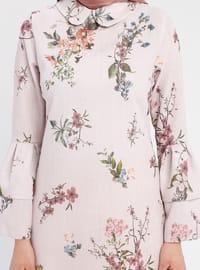 Powder - Floral - Round Collar - Tunic