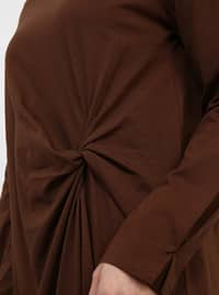 Brown - Crew neck - Cotton - Tunic