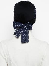 Navy Blue - Plain - Polka Dot - Instant Scarf