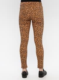Brown - Leopard - Cotton - Denim - Pants