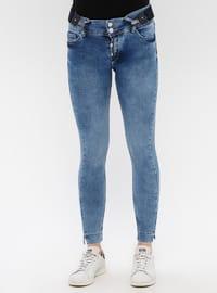 Blue - Cotton - Denim - Pants