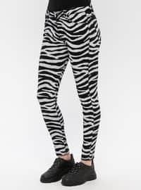 Black - White - Zebra - Cotton - Denim - Pants