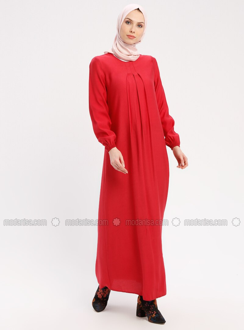 Fuchsia - Crew neck - Unlined -Viscose-- Dresses