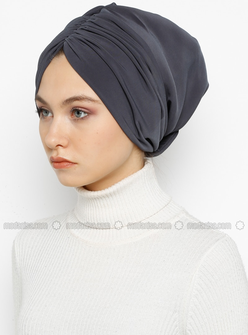 Gray - Anthracite - Plain - Instant Scarf