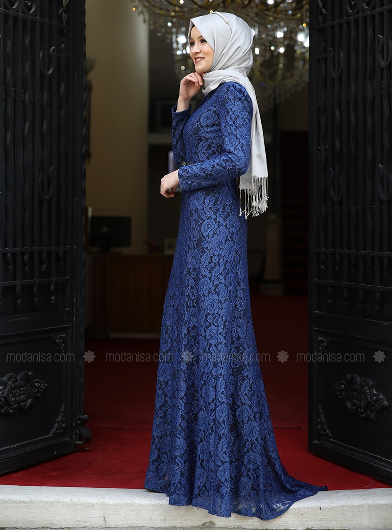 cce68e58ae9b1 Indigo - Fully Lined - Crew neck - Muslim Evening Dress