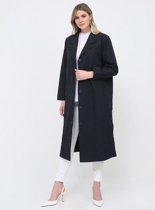 Navy Blue - Unlined - Shawl Collar - Plus Size Trench coat - Alia