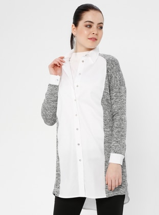 White - Point Collar - Viscose - Blouses