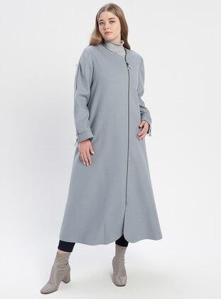 Blue - Fully Lined - Crew neck - Plus Size Coat - TUĞBA