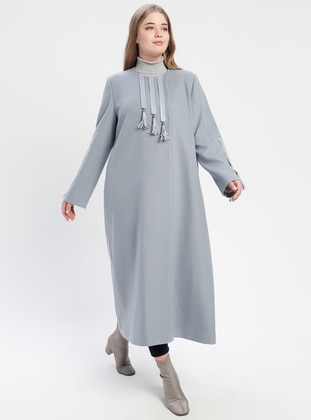 Blue - Fully Lined - Crew neck - Plus Size Coat - TUĞBA