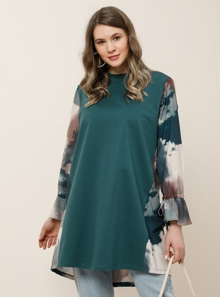 Green - Emerald - Crew neck - Plus Size Tunic