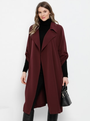 Plum - Unlined - Shawl Collar - Plus Size Coat - Alia
