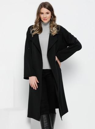 Black - Unlined - Shawl Collar - Plus Size Coat - Alia