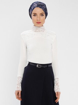 White - Ecru - Polo neck - Blouses
