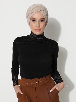 Black - Black - Polo neck - Blouses - MODAGÜL