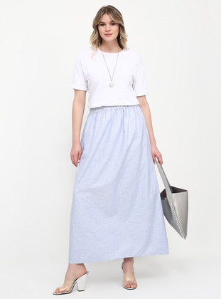 Blue - Unlined - Cotton - Plus Size Skirt - Alia