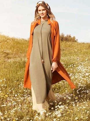 Khaki - Unlined - Crew neck - Plus Size Tunic