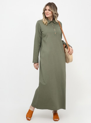Khaki - Unlined - Point Collar - Cotton - Plus Size Dress