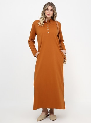 Tan - Unlined - Point Collar - Cotton - Plus Size Dress