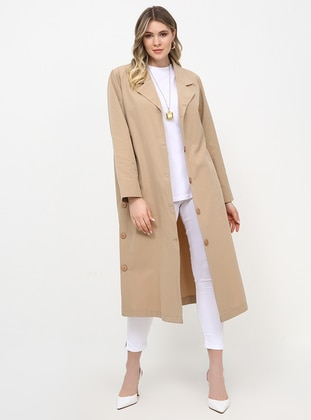 Beige - Unlined - Shawl Collar - Plus Size Coat - Alia