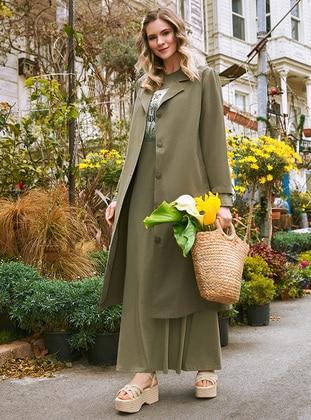 Khaki - Unlined - Shawl Collar - Plus Size Coat - Alia