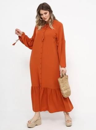 Tan -  - Unlined - Crew neck - Plus Size Dress