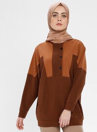 Brown - Tan - Polo neck - Tunic