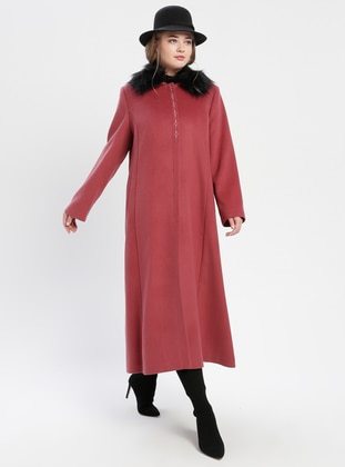Dusty Rose - Fully Lined - Point Collar - Plus Size Coat - TUĞBA